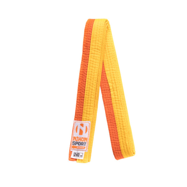 Tweekleurige judo- en karatebanden Nihon | geel-oranje | 260