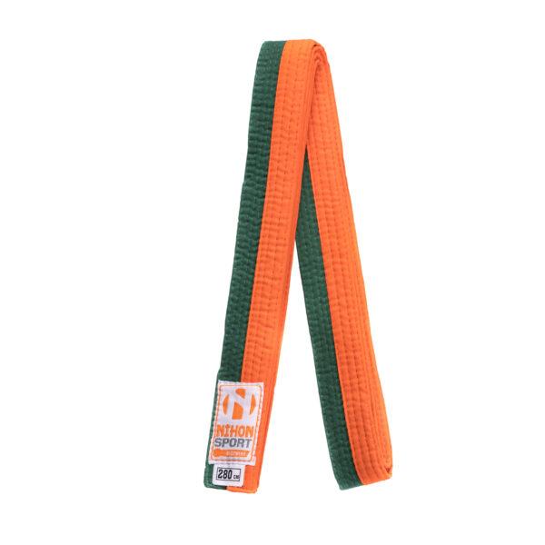 Tweekleurige judo- en karatebanden Nihon | oranje-groen |240