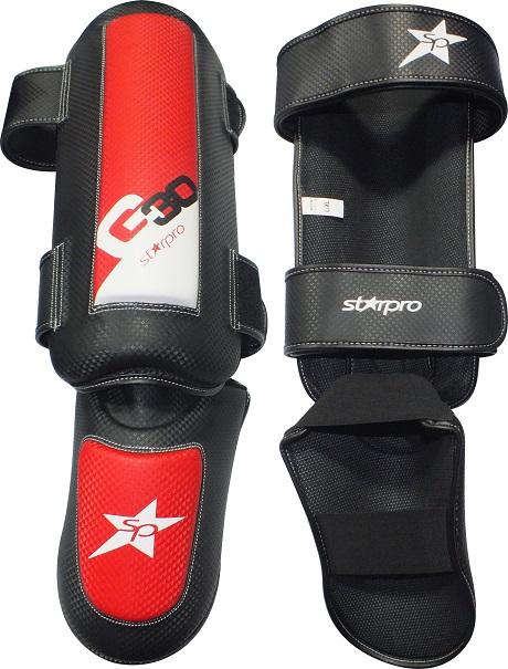 Scheen/wreefbeschermers Pro Starpro G30   rood-zwart