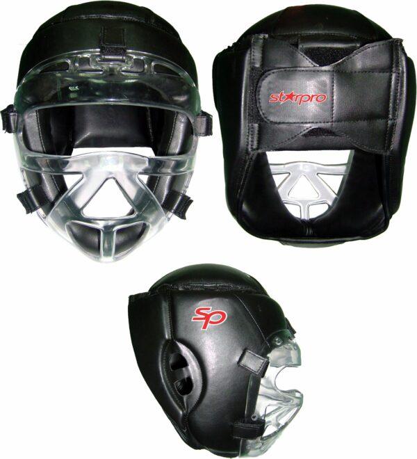 Hoofdbeschermer Starpro | met gezichtsbescherming | zwart