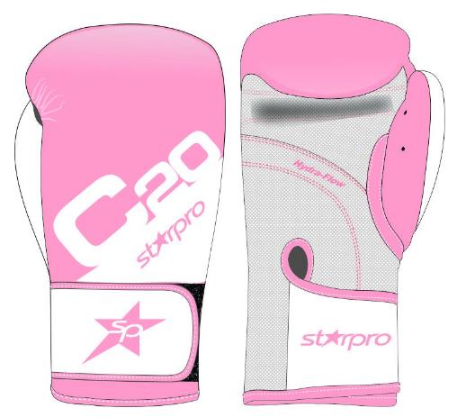 Bokshandschoenen voor trainingen Starpro C20 |roze-wit 6 oz