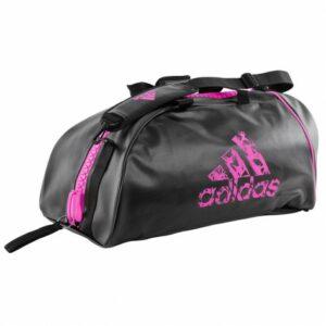 Adidas sporttas en rugzak met mega-rits | zwart-roze