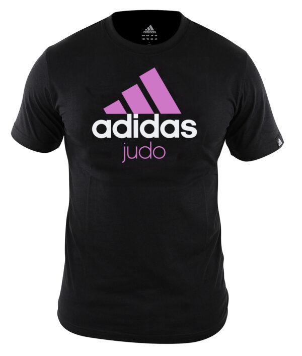 Adidas judo T-shirt | zwart-roze | MET KORTING