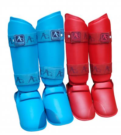 Scheen/wreef-beschermers voor karate Arawaza | blauw & rood