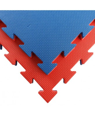 Puzzelmat budo & MMA Tatamix   3 cm  T-relief   blauw-rood