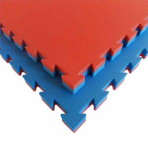 Puzzelmat budo & MMA Tatamix | 4 cm | T-relief | blauw-rood