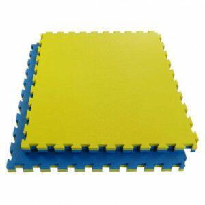 Puzzelmat budo & MMA Tatamix | 4 cm | T-relief | geel-blauw