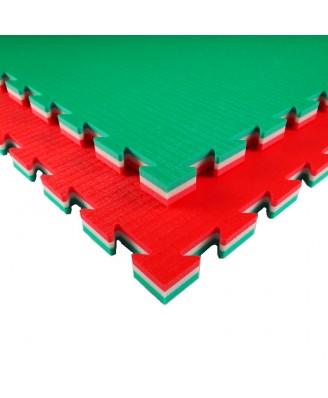 Puzzelmat judo, budo & MMA Tatamix | 3 cm | groen-wit-rood