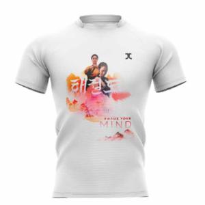 Trainingshirt JCalicu Taekwondo Focus your Mind | wit-oranje
