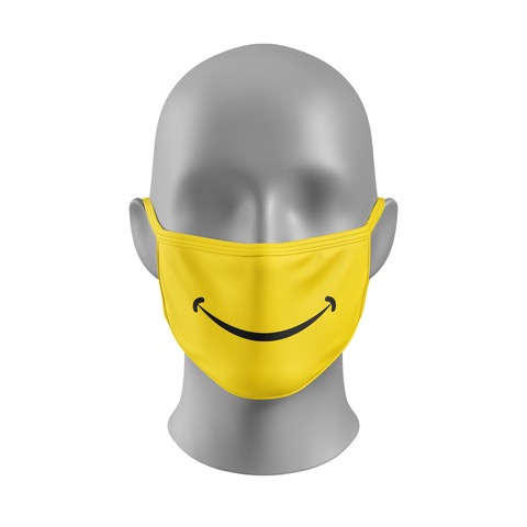 Mondmasker (herbruikbaar) Nihon | smiley-print | geel-zwart