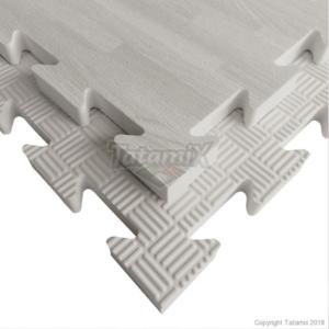 Puzzelmat houtmotief & 5-lijnenrelief Tatamix | 2 cm | wit