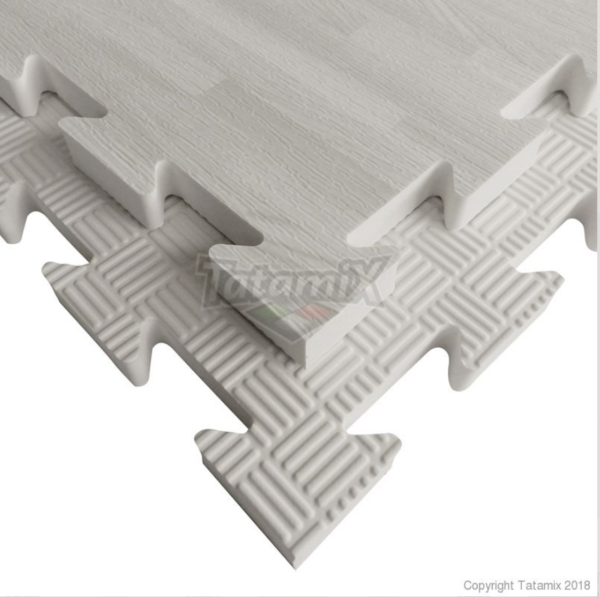Puzzelmat houtmotief & 5-lijnenrelief Tatamix   2 cm   wit