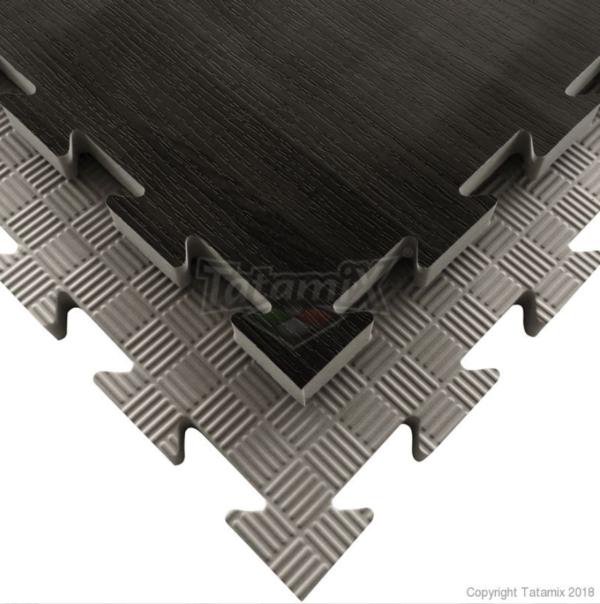 Puzzelmat houtmotief & 5-lijnenrelief Tatamix   2 cm   zwart