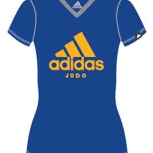 Adidas judo T-shirt voor dames | lichtblauw-oranje