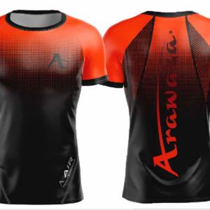 T-shirt Arawaza | dry-fit | zwart-oranje