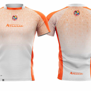 T-shirt Arawaza | dry-fit | wit-oranje
