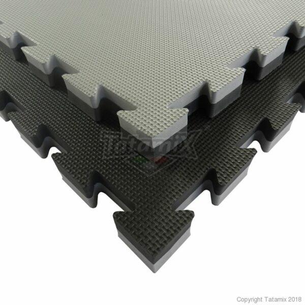 Puzzelmat budo & MMA Tatamix | 3 cm| T-relief | grijs-zwart