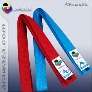 Karateband voor kumite Japanse stijl Arawaza   rood & blauw