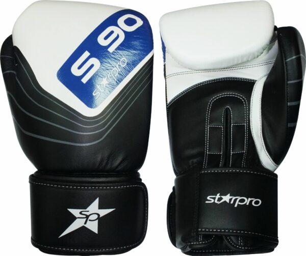 Leren bokshandschoenen Starpro S90 Elite | zwart-wit-blauw