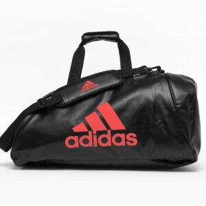 Adidas sporttas en rugzak | PU-leer | zwart met rood logo