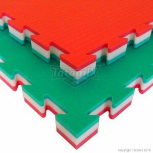 Puzzelmat voor judo Tatamix | 4 cm | zacht | rood-wit-groen