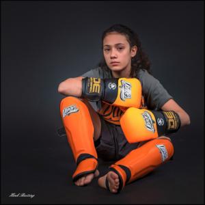 Kickboks scheenbeschermers voor kinderen Danger   oranje